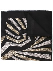 Janavi Illusion Sequined Scarf Black