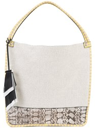 Proenza Schouler Colour Block Tote Women Canvas Ayers Snakeskin One Size Nude Neutrals