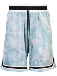 John Elliott Elasticated Waist Perforated Shorts Blue
