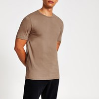 River Island Stone Slim Fit Crew Neck T Shirt