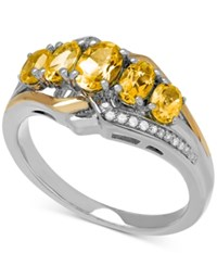 Macy's Citrine 1 1 4 Ct. T.W. And Diamond Accent Ring In Sterling Silver And 14K Gold Two Tone