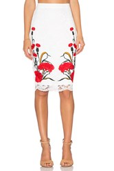 Endless Rose Floral Embroidered Lace Skirt White