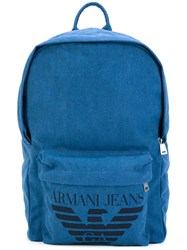 Armani Jeans Logo Print Backpack Men Cotton Polyester Polyurethane Viscose One Size Blue