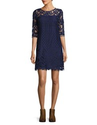 Taylor Three Quarter Sleeve Lace Shift Dress Navy