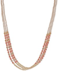Lonna And Lilly Gold Tone Colored Bead Triple Row 24 Slider Necklace Rose