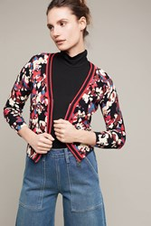 Anthropologie Trimmed Floral Cardigan Cream