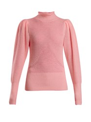 Frame Roll Neck Wool And Cashmere Knitted Sweater Pink