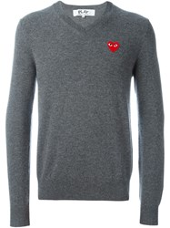 Comme Des Garcons Play Embroidered Heart Sweater Grey