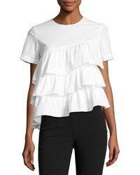 Co Short Sleeve Tiered Ruffle Top White