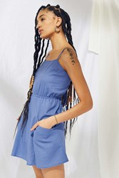 Urban Renewal Remnants Strappy Linen Mini Dress Sky