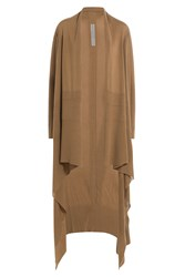 Rick Owens Draped Virgin Wool Cardigan Camel