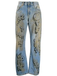 Off White Graffiti Print Straight Leg Jeans Blue