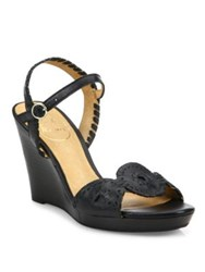 Jack Rogers Clare Whipstitch Leather Ankle Strap Wedge Sandals Black