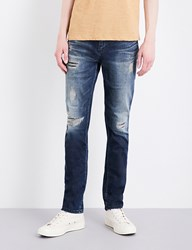 Calvin Klein Slim Fit Tapered Mid Rise Jeans Derby Blue Destruct