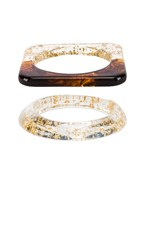 Amber Sceats Hart And Sahi Bracelet Set In Metallic Gold. Gold Multi