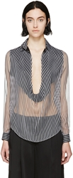 Anthony Vaccarello Black And Grey Muslin Candystripe Blouse