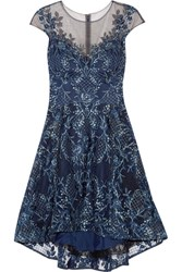 Marchesa Notte Asymmetric Embroidered Tulle Mini Dress Navy