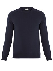 Saint Laurent Crew Neck Cashmere Sweater Navy