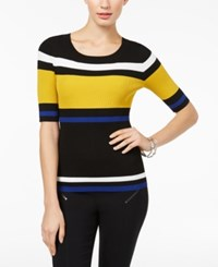Inc International Concepts Striped Sweater Created For Macy's Polished Gold