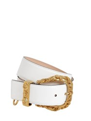 Versace 40Mm Leather Belt W Gold Buckle Bianco