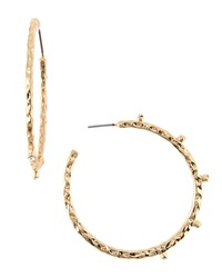 Rj Graziano R.J. Graziano Hammered Golden Rhinestone Hoop Earrings