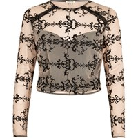 River Island Womens Nude Embroidered Mesh Crop Top