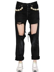 Forte Couture Embellished And Destroyed Cotton Jeans