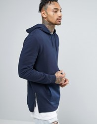Asos Longline Hoodie With Woven Pocket And Zips Navy