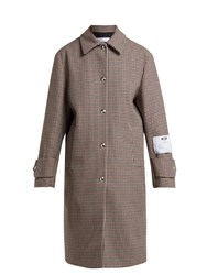 Msgm Houndstooth Wool Blend Coat Brown Multi
