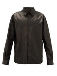 The Row Dale Leather Shirt Black