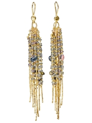 Natasha Collis 18Kt Yellow Gold Fringe Treasure Earrings Multicolour