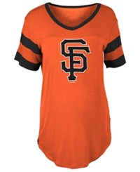 5Th And Ocean Women's San Francisco Giants Sleeve Stripe Relax T Shirt Orange