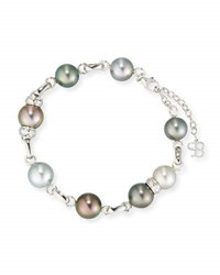 Belpearl Multicolor Tahitian Pearl Station Bracelet With Diamonds