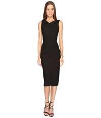 Zac Posen Stretch Cady Sleeveless Tea Length Dress Black