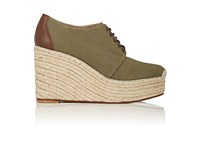 Barneys New York Canvas Platform Wedge Espadrille Oxfords Olive