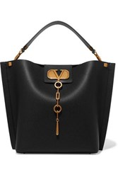 Valentino Garavani Escape Textured Leather Tote Black