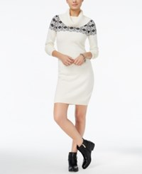 Tommy Hilfiger Geneva Embellished Fairisle Sweater Dress Only At Macy's Cream