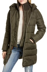 Kensie Water Resistant Puffer Coat With Vest Inset Olive