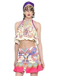 Manish Arora Embellished Printed Crepe Halter Top