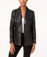 Alfani Petite Faux Leather Draped Jacket Only At Macy's Deep Black