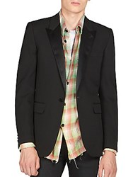 Saint Laurent Satin Lapel Sportcoat Nero