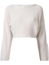 Toga Slit Sleeved Knitted Blouse White