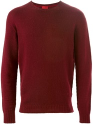 Isaia Crew Neck Sweater Red