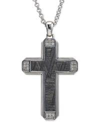 Esquire Men's Jewelry Diamond 1 4 Ct. T.W. And Meteorite Cross Pendant Necklace In Sterling Silver Created For Macy's Black