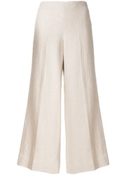 Theory Wide Legged Cropped Trousers Nude And Neutrals