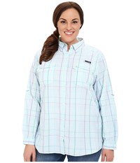 Columbia Plus Size Super Bonehead Ii L S Shirt Miami Plaid Women's Long Sleeve Button Up Blue