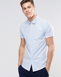 Asos Shirt In Blue Stripe With Short Sleeves Blue