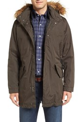 Cole Haan Men's 3 In 1 Anorak With Removable Liner And Faux Fur Hood Olive