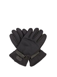 Fendi Leather Panelled Gloves Black