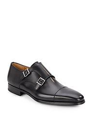 Magnanni For Saks Fifth Avenue Double Buckle Leather Monk Strap Shoes Black